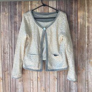 Soft Surroundings Sequin Raw Edge Cardigan Size L